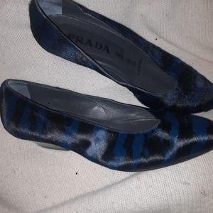 Prada blue zebra ponyhair pumps 36